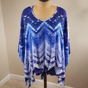 Dressbarn blue zig-zag breezy scarf top